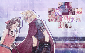 Cloud and Aerith Wallpaper by rina-imbers