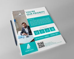 Simple/Flat Corporate Flyer Template by FAFAEFEL