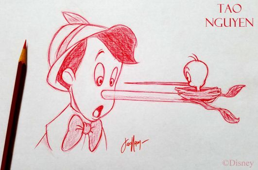 Tao Nguyen's Pinocchio and Tweety Sketch Drawing by TaoNguyenArts