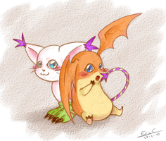 Gatomon n Patamon by Evinawer