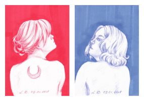 ACEO Red Blue by LualaDy