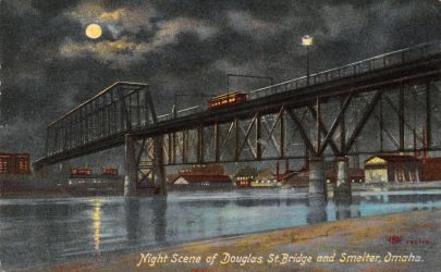 Night Scene Postcards - Ak-Sar-Ben Bridge, Omaha by Yesterdays-Paper