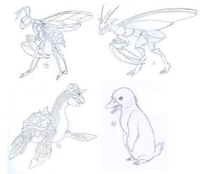 Pokemon Sketches by LeeDassin