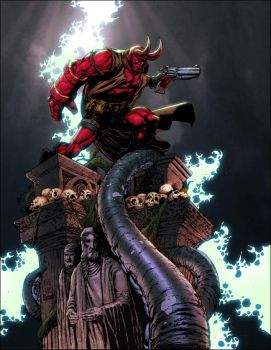 Hellboy by Keu Cha colored by SplashColors