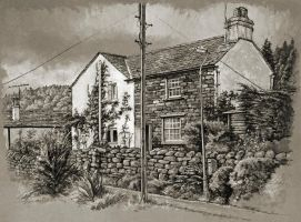 Tonal study of a cottage in Thornthwaite, Cumbria by jeffsmith1955