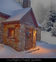 Christmas Cottage 3 by Virgolinedancer1 by VIRGOLINEDANCER1