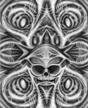 Biomechanical Skull Art by kayden7