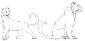 Tigress and tiger free lineart by AFrozenHeart