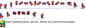 Hand-Standing Mario Sprites by ElectricStaticGamer