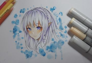Emilia - fanart traditional by Fhilippe124