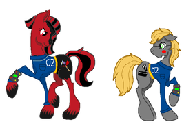 Stable Dwellers Crimson Glow and Clipboard by SummerSketch-MLP
