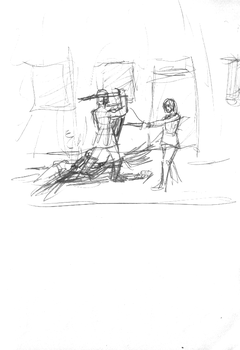 Urban Wasteland Concept Sketch - Combat by ForgottenDemigod