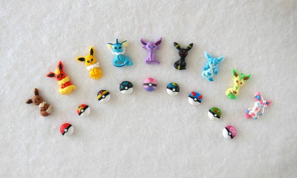 Eeveelution Ear stud Collection by LittleBreeze