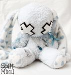 Blue Heart Bunny by splitmindplush