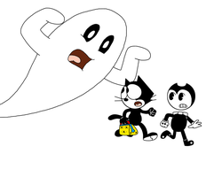 Felix and Bendy running from a ghost by MarcosPower1996