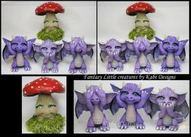 Handmade Polymer clay Wise Dragons by KabiDesigns