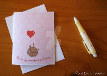Chibi Kitty with Heart Balloon Valentine Card by pixelboundstudios