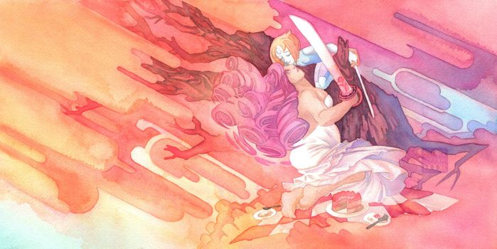 SU Rose Quartz and Pearl Sword Fighting Picnic by blix-it