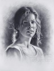Drawing a portrait of Evangeline Lilly by Drawing-Portraits