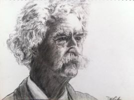 Mark Twain Charcoal by DustinJWCook