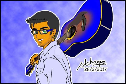 Vince and his new guitar 2017 by sthaque
