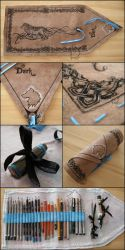 Dark Wolf Pencil Wrap - handmade art-wrap by Dark-Lioncourt