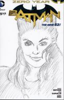 Julie Newmar as Cat woman Sketch Cover by mentaldiversions