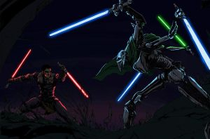 Starkiller vs Grievous color1 by kelbykross