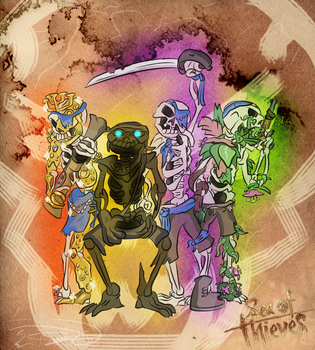 Ses of Thieves Spooky Scurvy Skeletons by Nyanbonecrush