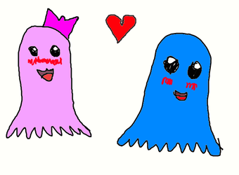 Male and female marshmallow ghosts by Mysteryguy21