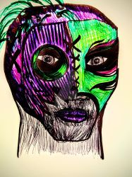 Lucha Mask Pen Sketch by DanaiMorningstar
