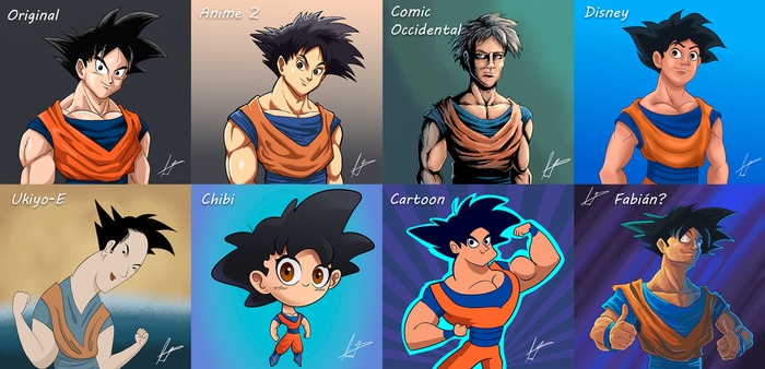 Some Drawing styles with Goku by FabianLeonardo
