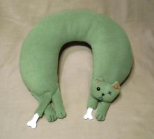 Zombie Cat Neck Pillow by Justenjoyinglife