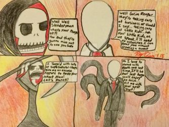 Slenderman vs. Grim Reaper by RaydaraArtIsABang