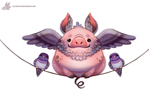 Daily Paint #1116. Flying Pig-eon by Cryptid-Creations