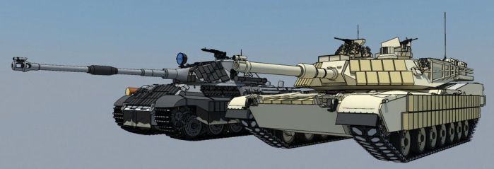 King Tiger Ausf.D(fictional) vs M1a2e5(fictional)2 by Giganaut