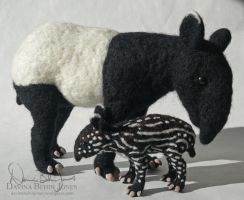 Tapir mother and calf by FamiliarOddlings