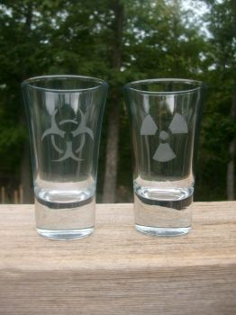 Zombie Apocalypse Double-Shot Glass Set by ZombieBunnySlaya