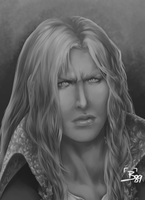 Alucard Portrait (b+w) by Botticella89
