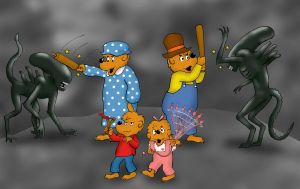 Aliens Vs. Berenstain Bears by rocketdave