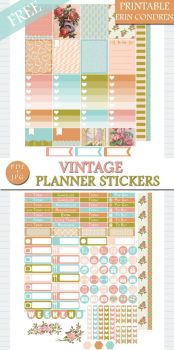 Free Vintage Planner Stickers for Erin Condren by GreenLightIdeasGLI