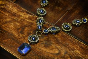 Neo Victorian Jewelry  - Necklace - Light Sapphire by CatherinetteRings