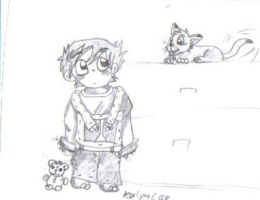Boy and kitty by kalynvalcourt