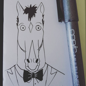 Bojack Horseman - Ink drawing practice by Andi-the-Duke