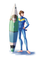 Totodile Wetsuit and Surfboard TF by midorimushiG