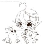 Elf and Frog Lineart by YamPuff