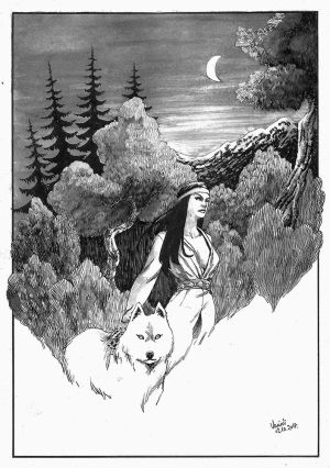 Indian woman and wolf by Vanxee
