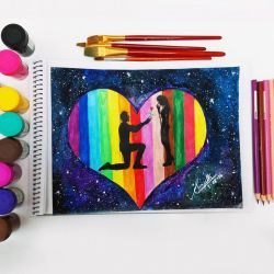 Galaxy love proposal - watercolour painting by sinjith