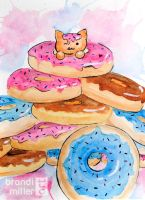 Donut Cat by brandimillerart