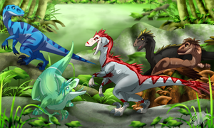Jungle Pack at Play by albinoraven666fanart